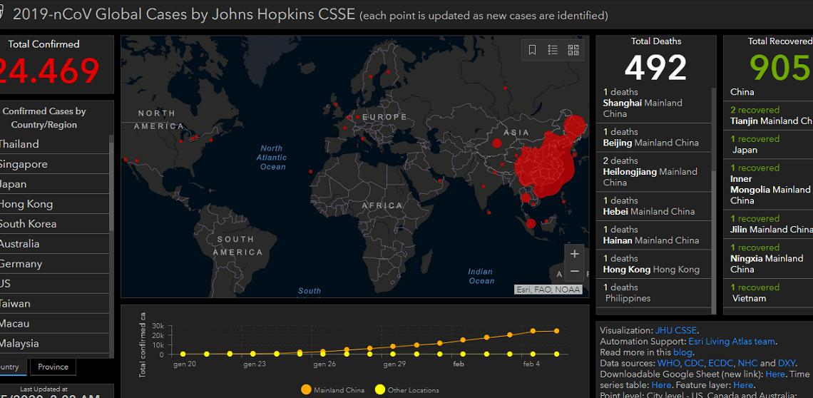 Coronavirus: la mappa di diffusione live su Internet