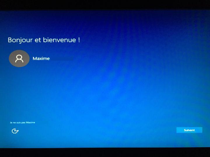 Windows 10 - Ecran de bienvenue