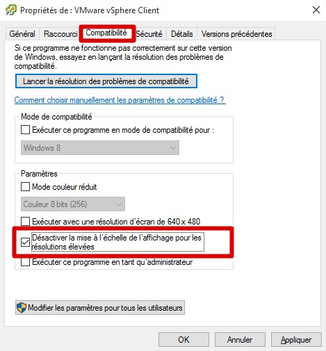 Mise à l'echelle DPI par application