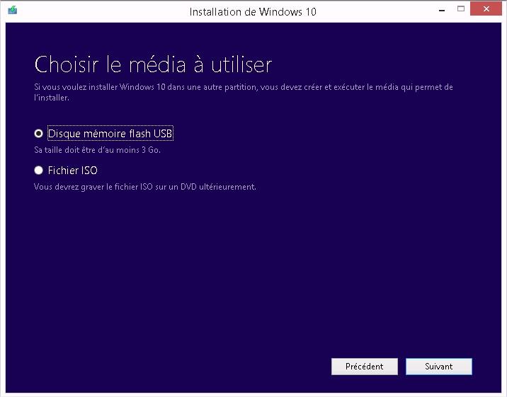 Windows 10 - Choix du media