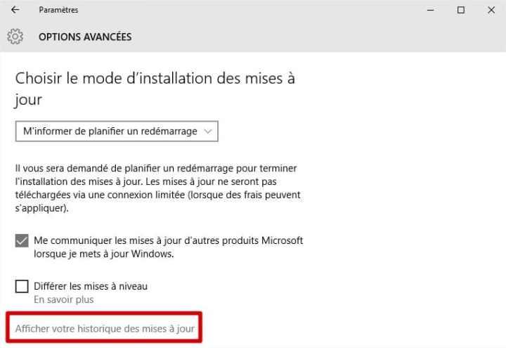 windows10 - historique des mises à jour