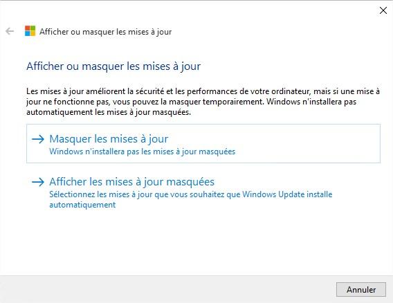Windows10 - utilitaire masquer les mises à jour