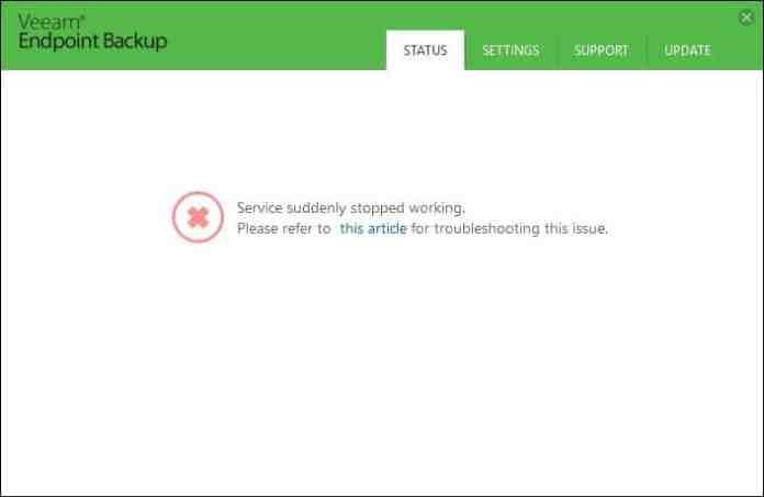 Veeam Endpoint Backup - Erreur control panel