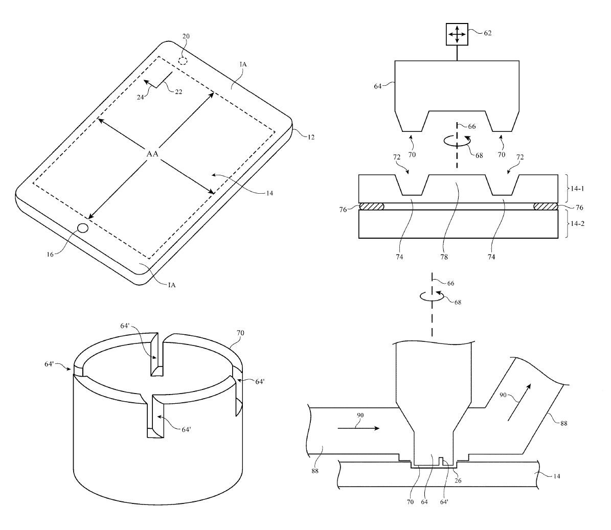 Apple display holes patent - آبل تسجل براءة اختراع جديدة تكشف عن تصميم جديد للآيفون بدون نوتش علوي