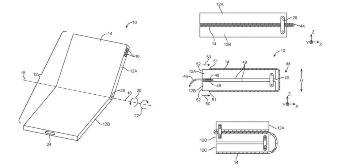 Apple foldable phone patents - براءة اختراع جديدة تسجلها شركة آبل تكشف عن تصميم الجوال القابل للطي المستقبلي لها