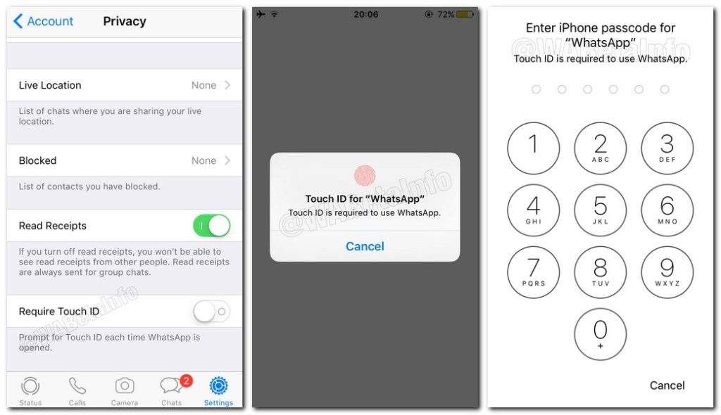 whatsapp6 1024x590 - مستخدمو تطبيق الواتساب على الآيفون سيحصلون على خيارات الأمان TouchID و FaceID