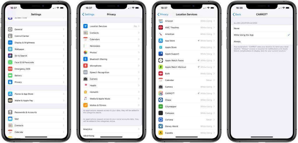 التطبيقات التي لديها صلاحية الوصول إلى موقعك الجغرافي على نظام iOS 1024x493 - كيفية معرفة التطبيقات التي لديها صلاحيات الوصول إلى موقعك الجغرافي على iOS