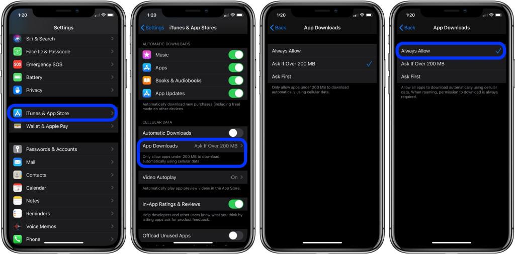 1111 - تعرف على كيفية تحميل أي تطبيق بأي حجم من خلال البيانات الخلوية على iOS 13