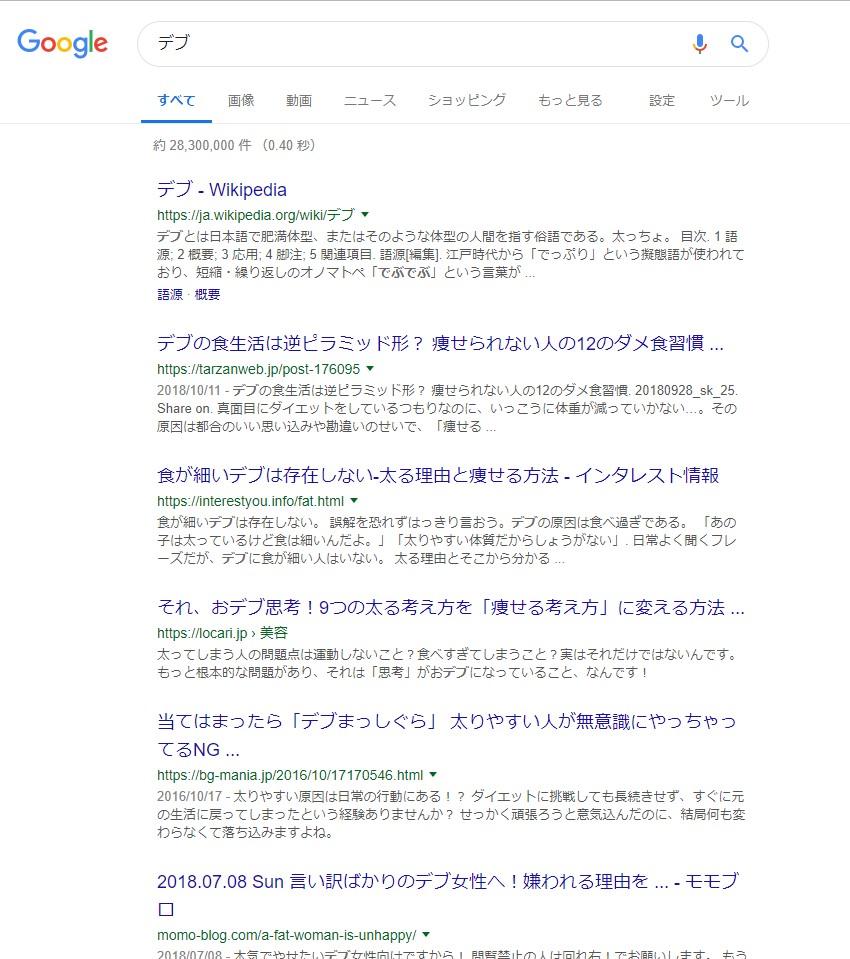 googleでの「デブ」の検索結果