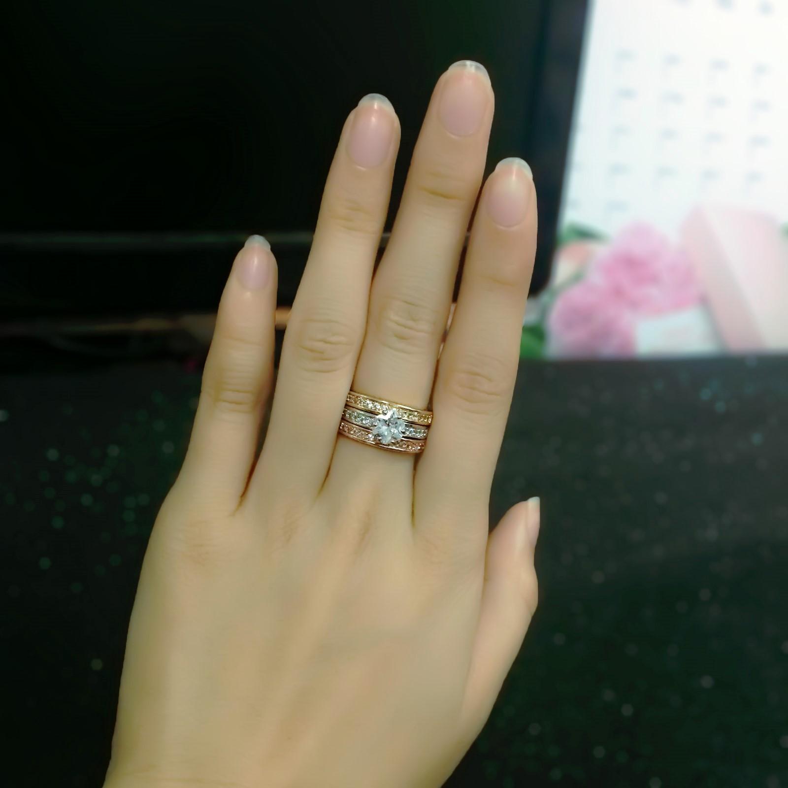 Sysbarnet Sales Engagement Ring Sets Rose Gold Color