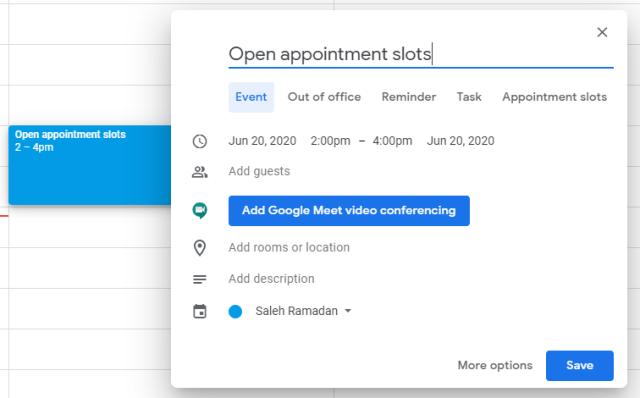 Google Calendar new item