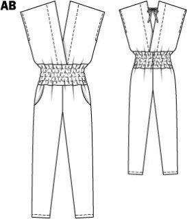Burda Jumpsuit 3/2015 model 115A. Jeg har valgt ikke å sy smock eller vaffelsøm i livet, men forlenge delene til buksen og lommen - se neste bilde.