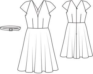 Kjolen er model nr 104 i bladet - jeg har tatt utgangspunktet i mønsteret, men ikke sydd i glidelås i ryggen, skjørtet er helt rundklippet uten sømmer og Midt foran og Midt bak på forstykket og bakstykket er lagt mot stoff-fold for å unngå sømmer.