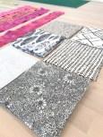 Til blockene valgte jeg seks forskjellige sort/hvite stoffer i ulike mønster