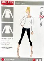 Dette Line2Line genser mønster med raglanermer var utgangspunktet for kjolen - B1230 har størrelser fra 36-54