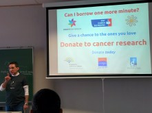 My appeal for cancer research at the end of my presentation