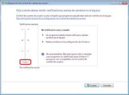 control de cuentas de usuarios de windows