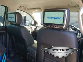DVD headrests fitted to 2018 Ford Everest in Black