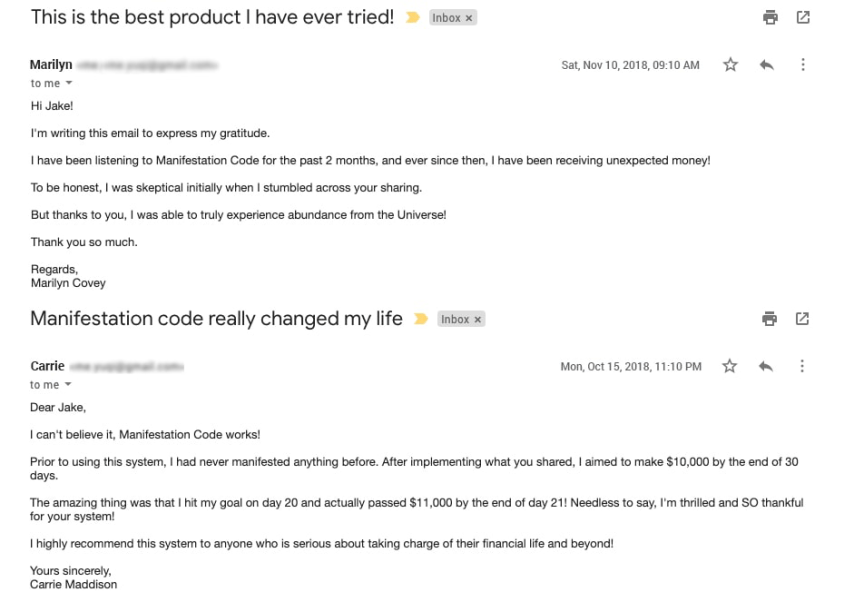 Manifestation Code customer reviews