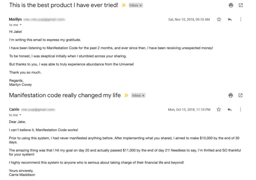 Manifestation Code customer reviews