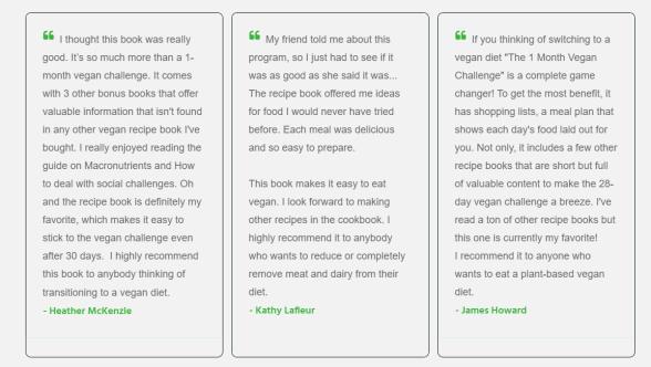 1-month Vegan Challenge Customer Review