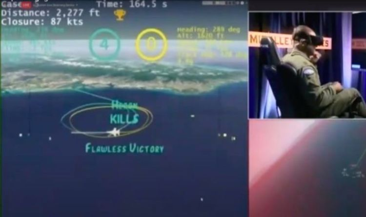The AlphaDogfight simulation system, in which artificial intelligence defeated an f-16 pilot. Credits: Daily Express