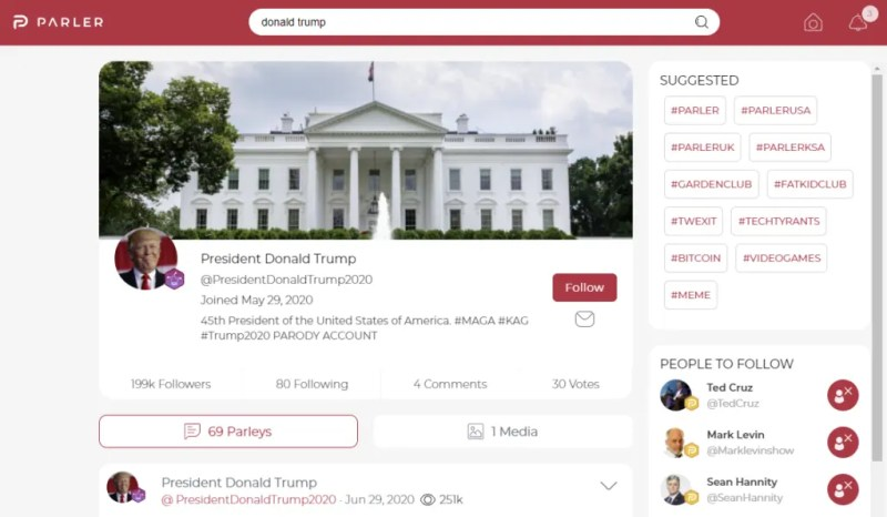 Trump's account on Parler, banned from Amazon servers.