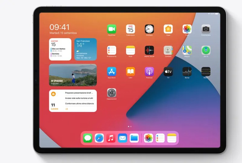 The new display of widgets on the latest iPads with iPadOS14. Credits: Apple