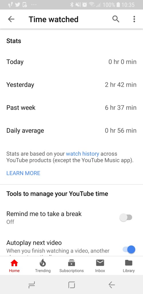 YouTube - Time watched view from mobile phone