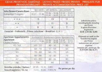 Mošćenička Draga szállás árak - Opatia alatt/felett