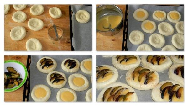 Pudingos-szilvás kelt sütemény