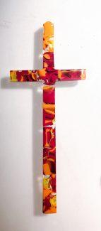Szklany krzyż - wytapiany w formie, 4 stronnie szliforany do wprawienia w oprawę
