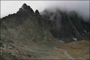 Górne piętro Doliny Jaworowej, Ostry Szczyt i mur Jaworowych Szczytów