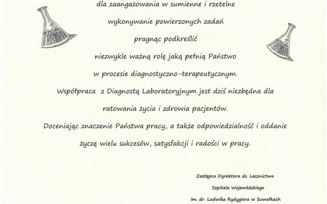 Z okazji przypadającego na dzień 27 maja Ogólnopolskiego Dnia Diagnosty Laboratoryjnego…