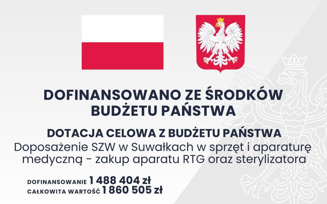Doposażenie SZW w Suwałkach w sprzęt i aparaturę medyczną – zakup aparatu RTG oraz sterylizatora