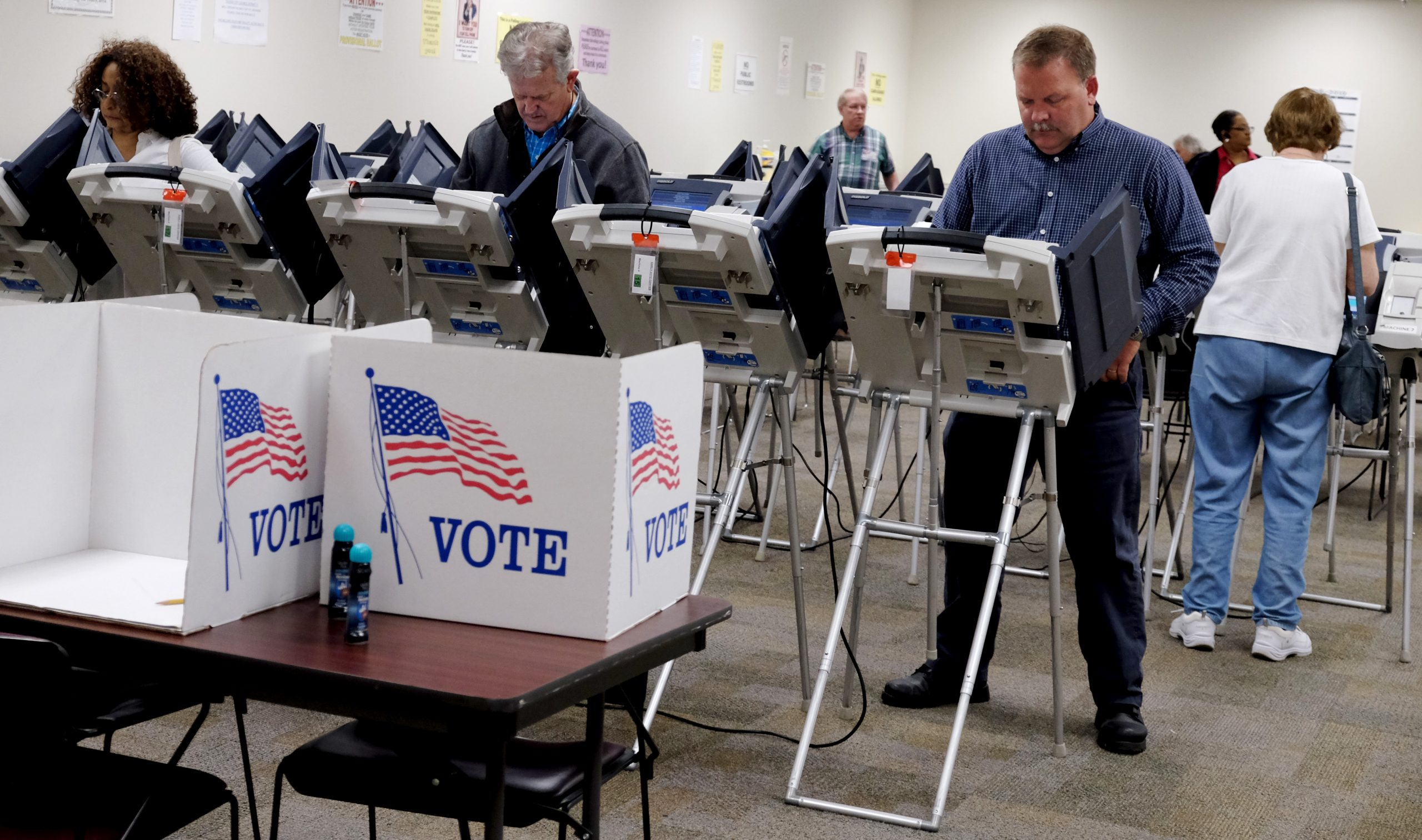 voting machine room
