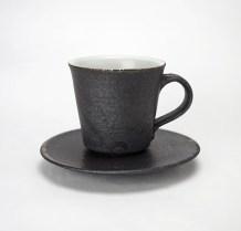WB-1白黒マグカップ/ H-2灰釉平小皿