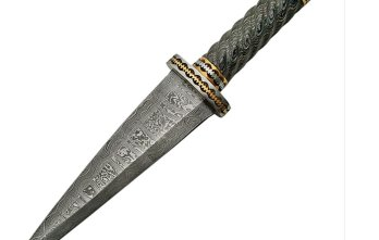 Damascus – Dirk Pakkawood Handle