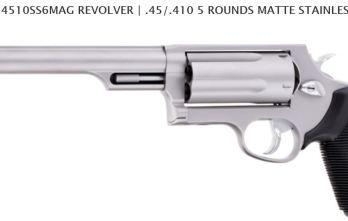 TAURUS JUDGE 3″ MAGNUM 6.5″ BARREL 4510SS6MAG REVOLVER | .45/.410 5 ROUNDS MATTE STAINLESS