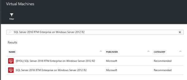 SQL2016 in Azure
