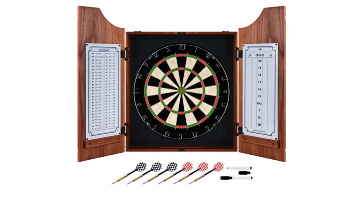 Trademark Games Beveled Wood Dart Cabinet