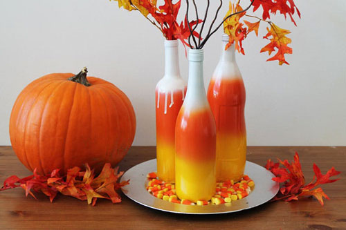 Ombré Candy Corn Wine Bottles