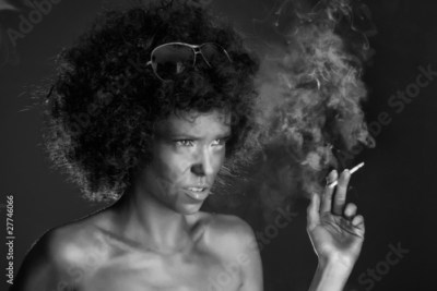 black white angry girl with afro hair from photoflow royalty free stock photo on