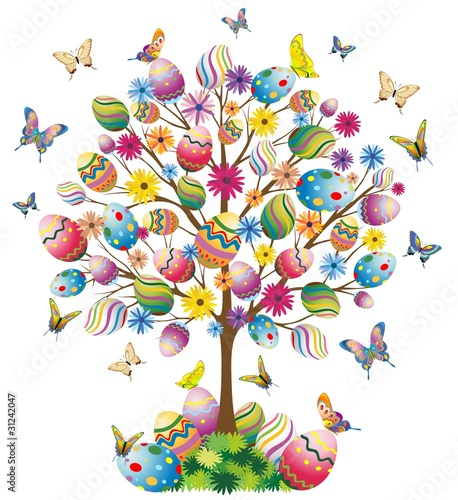 Pasqua Albero con Uova-Easter Tree With Eggs-Vector