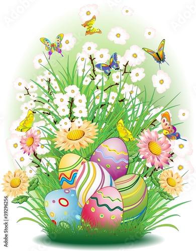 Pasqua-Uova e Sfondo Natura-Easter Eggs and Spring Flowers