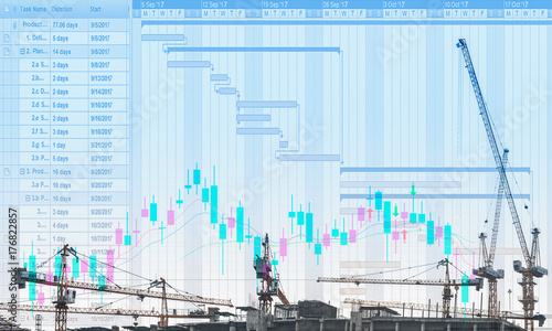 The conceptual multi exposure image of construction project with     The conceptual multi exposure image of construction project with gantt chart  and stock price movement graph