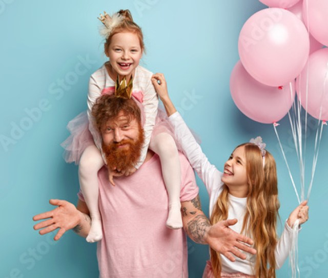 Two Funny Naughty Sisters Play Together Tickle Each Other Being Cared By Dad