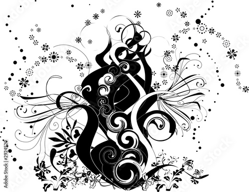 swirl design element - fire (black and white)