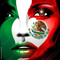 Mexico Flag Girl Portrait Design