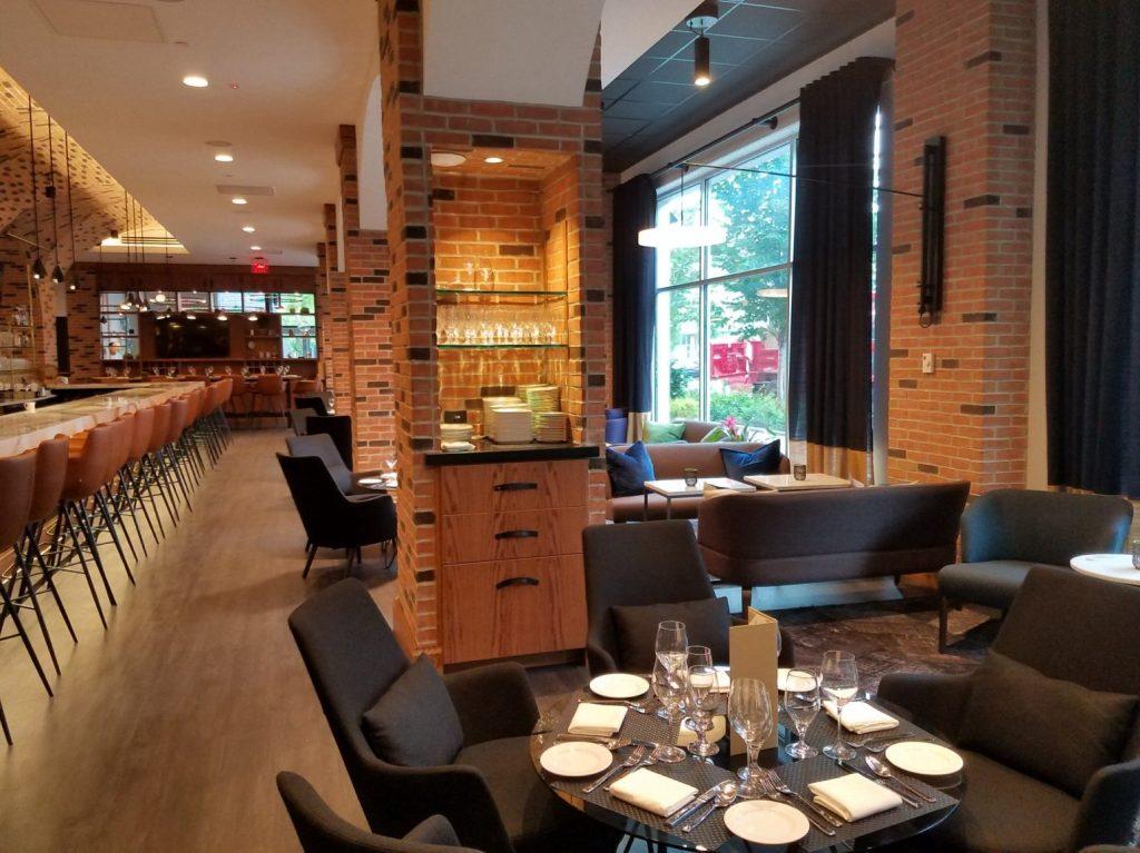 Veneer waiter station & glass shelving